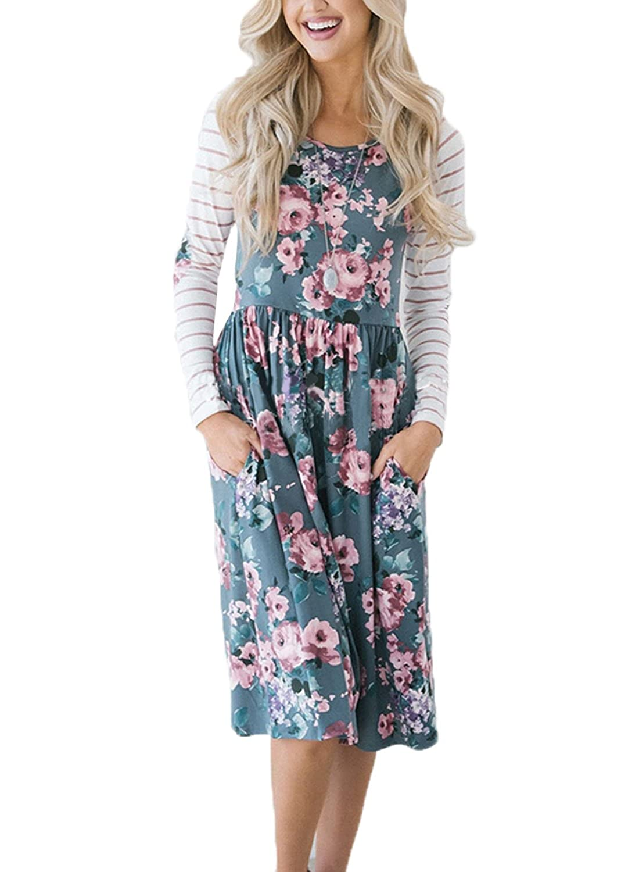 d8006a319f HOTAPEI Women s Floral Print Casual Short Sleeve A-line Loose T-Shirt  Dresses Knee Length