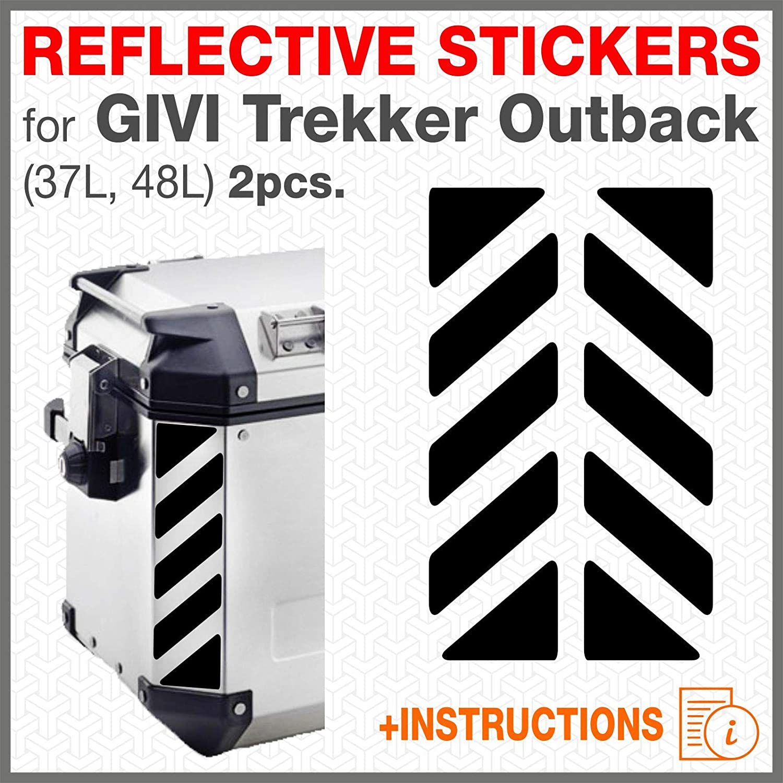 2 pcs RIFRANGENTI ADESIVI per VALIGIE LATERALI GIVI Trekker Outback 37L 48L (Bianco) Black Doves Graphics