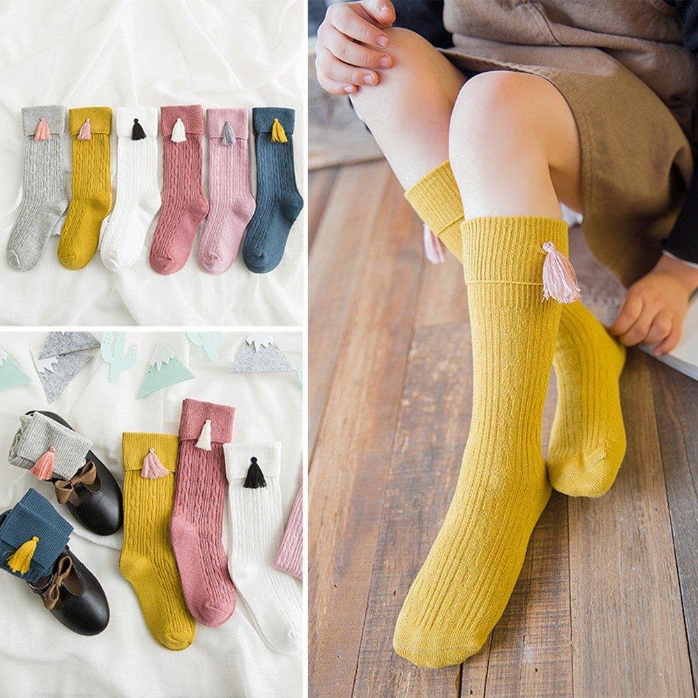 Girls Fashion Stretchy Tassels Knee High Socks Summer Clothing Accessories bjlongyi