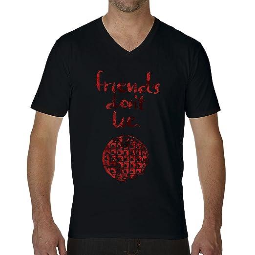 Friends Dont Lie by Stranger Things Black Mens T-Shirt V Neck Small