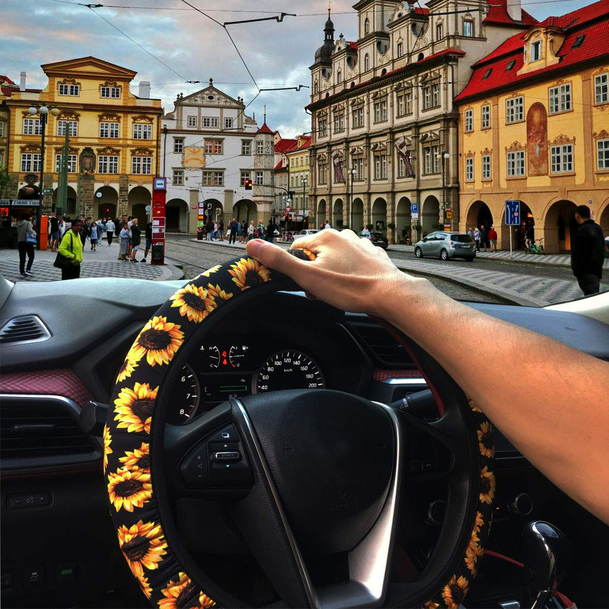 Cute and Fashionable Universal Sunflower Steering Wheel Cover with Sunflower car Accessories Porpor/ Booya Sunflower Steering Wheel Cover+2 Pack Car Coaster 2 Pack Coin Key Chain
