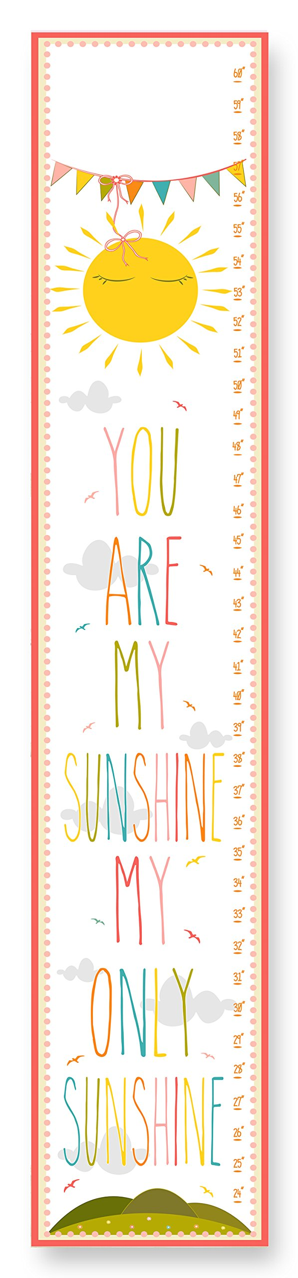 The Kids Room by Stupell You are My Sunshine Growth Chart, 7 x 0.5 x 39, Proudly Made in USA by The Kids Room by Stupell