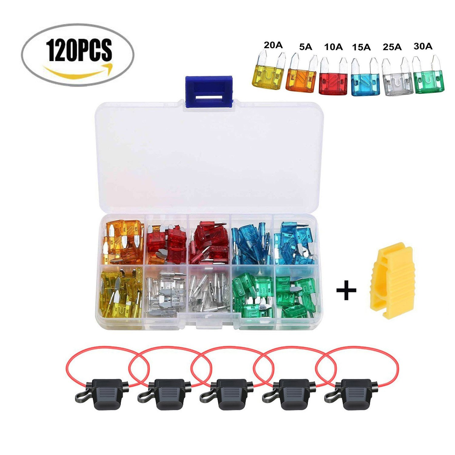 120 Pieces Mini Blade Fuse Assorted Circuit Blade +5 Inline Fuse Holder for Automotive Car Truck SUV RV Boat with 1 Puller Extraction Tool(5A, 10A, 15A, 20A, 25A, 30A) Twshiny