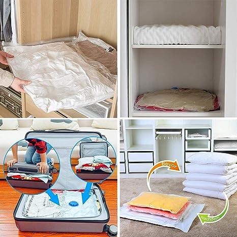 toallas ropa bolsas de vac/ío 100 x 80 reutilizables para edredones Bolsas de vac/ío etc. almohadas 6 unidades bolsas de almacenamiento WonderTech viaje