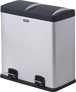 Superio - 16 Gallon Trash Can and Recycling Bin Combo, Stainless Steel, Step On, Includes 2 x 8 Gallon Removable Buckets with Handles, Airtight, Use for Kitchen, Office, Home