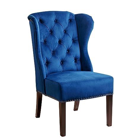 detailed look 907cc 7052f Abbyson Kyrra Tufted Velvet Wingback Dining Chair, Navy Blue