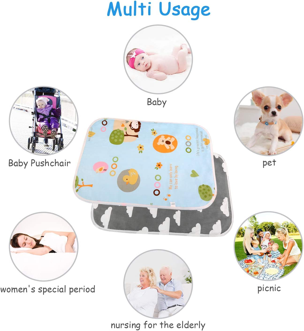 Newborn and Toddlers Waterproof Reusable Washable Nappy Mat for Home Outdoor Travel 2 Pack 50cmX70cm Portable Baby Diaper Changing Pad Grey /& Blue LEADSTAR Portable Change Mat