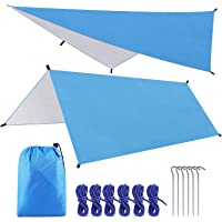 SKL Hammock Rain Fly Tent Tarp 10 x 10 FT Large Waterproof Camping Tarp Shelter UV Protection Lightweight Ripstop Nylon Picnic Mat for Camping Hiking Backpacking