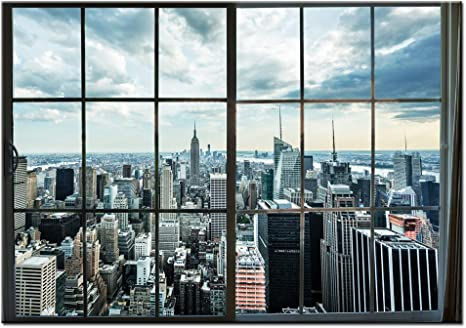 Levvarts Large Manhattan New York City Skyline Canvas Prints Cityscape From Window Picture Photography Canvas Art With Inner Wood Frame Modern Home Decoration Posters Prints