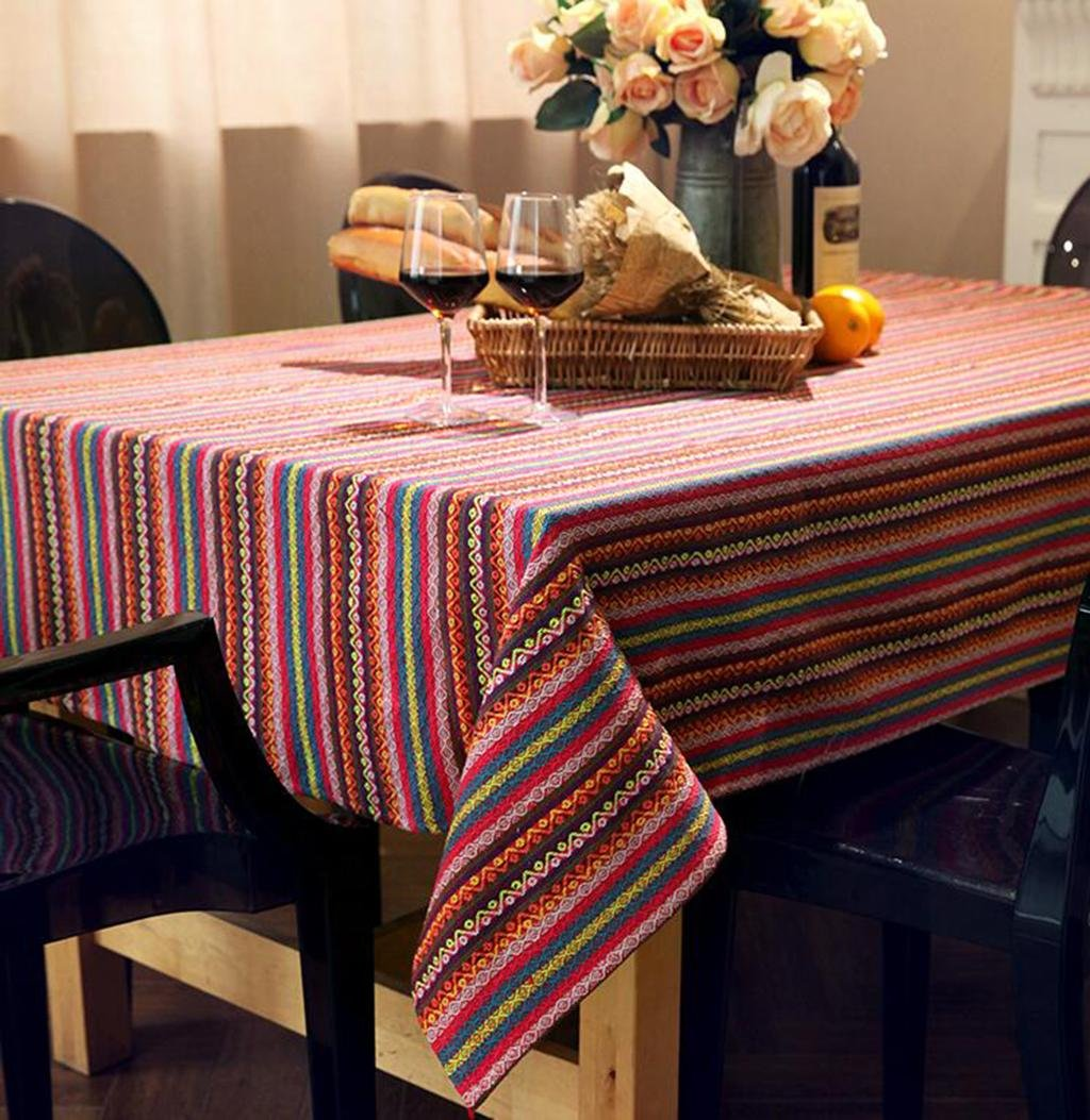 A 90140cm personality HETAO Linen Tablecloth Striped Tablecloth For Dining Table House Suitable For The Restaurant Cafe Hotel , 90140cm , A decoration