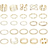 YADOCA 25 Pcs Simple Knuckle Midi Ring Set for Women Vintage Gold Finger Stackable Rings Set Carved Joint Nail Rings