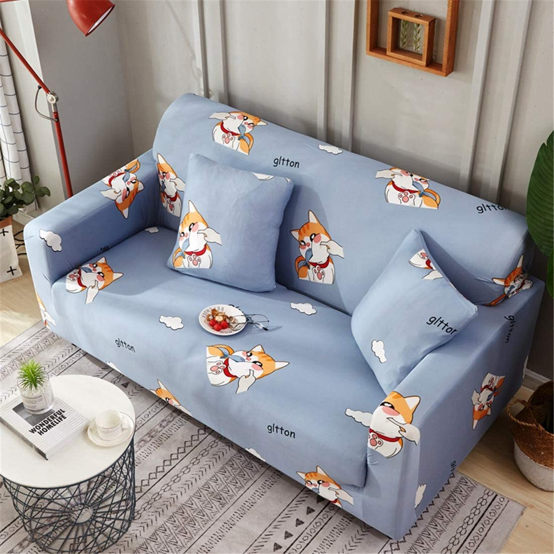 Chickwin Sofa Slipcover 1pc Pillowcase: 45 x 45 cm,Cactus Elastic Fabric Pure Color Couch Protector Slip Cover Washable Furniture Protector
