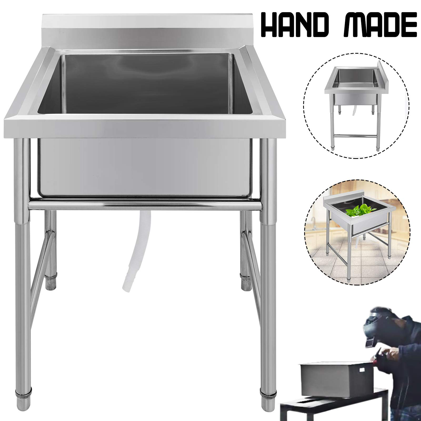 "Mophorn 1 Compartment Stainless Steel Bar Sink 23.5""x 22.5""Bowl Size Handmade Underbar Sink for bar, kitchen restaurant"