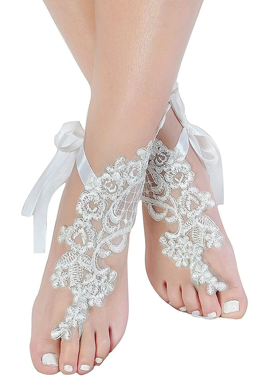 Women's Lace Beach Wedding Barefoot Sandals Handmade White and Ivory (White)