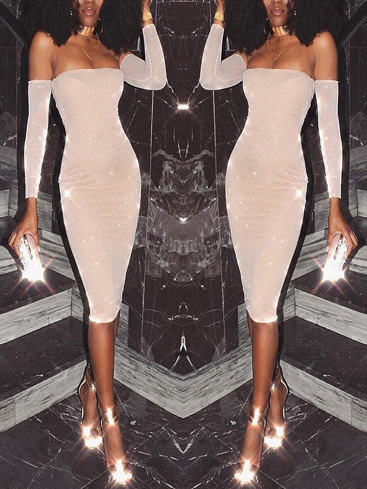 52b40a83 Ninimour Women's Glittering Off Shoulder Bodycon Midi Dress X-Large Nude:  Amazon.co.uk: Clothing