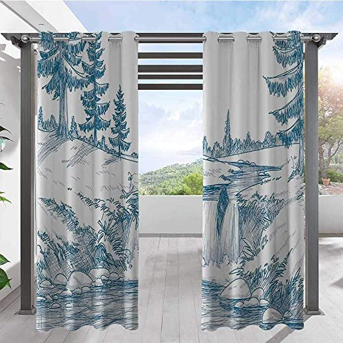 Home Curtains Pencil Drawing Effect Illustrated Graphic Art Print Home Fashion Window Panel Drapes to Shield The Patio from The Sun Blue White W72 x L84 Inch