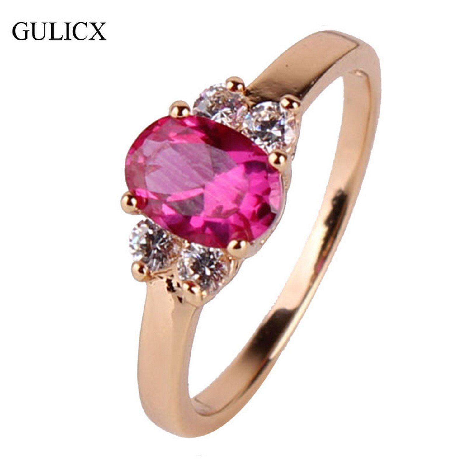 GemMart Jewelry Fashion Rose Red Crystal Midi Ring Gold Plated Oval Cubic Zirconia Band Wedding Decorations R034