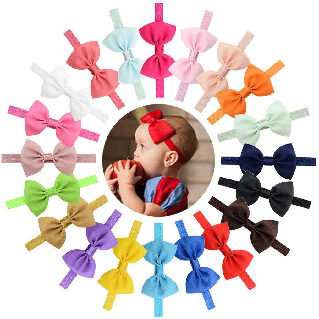 Tenxin Fasce Elastico Cerchietti con Fiocco per Capelli Bambine Headwear Multicolori(confezionato con 20pcs)