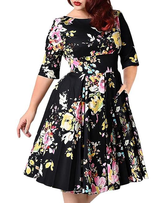Mujer Vintage Vestido De Fiesta Impresión Flores Manga Corta V-Cuello Vestido De Fiesta: Amazon.es: Ropa y accesorios