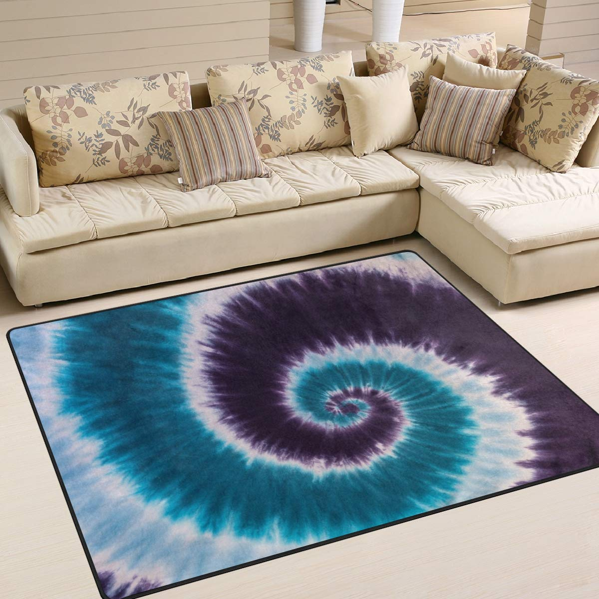 ALAZA Home Decoration Blue Purple Tie Dye Abstract Large Rug Floor Carpet Yoga Mat, Modern Area Rug for Children Kid Playroom Bedroom, 5' x 7'