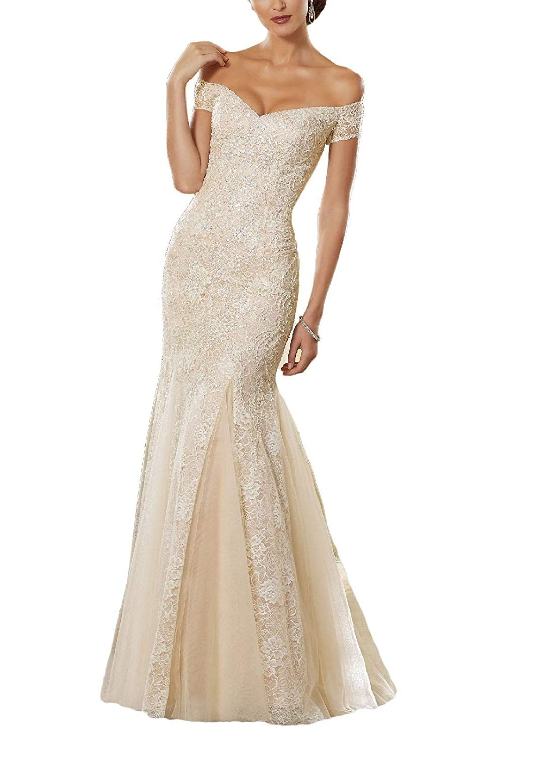 Champagne Yisha Bello Women's Off The Shoulder Mermaid Crystal Beaded Prom Dress Long Lace Evening Formal Gowns