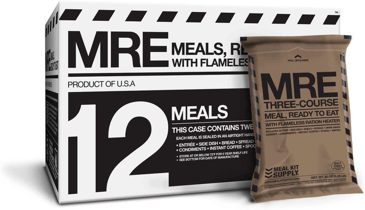 MRE (Meals, Ready to Eat) Premium Case of 12 Fresh MRE w/ Heaters. 5-Year Shelf Life.