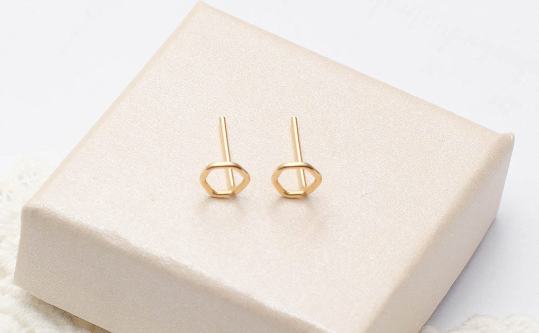 Tiny Hexagon Earrings Geometric Small Studs 14k Gold Filled Handmade