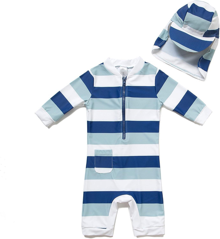 TM Kids UPF 50+ Sun Protection S//S One Piece Zip Sun Suit With Sun Hat Bonverano 3-6 months, Colorful fish