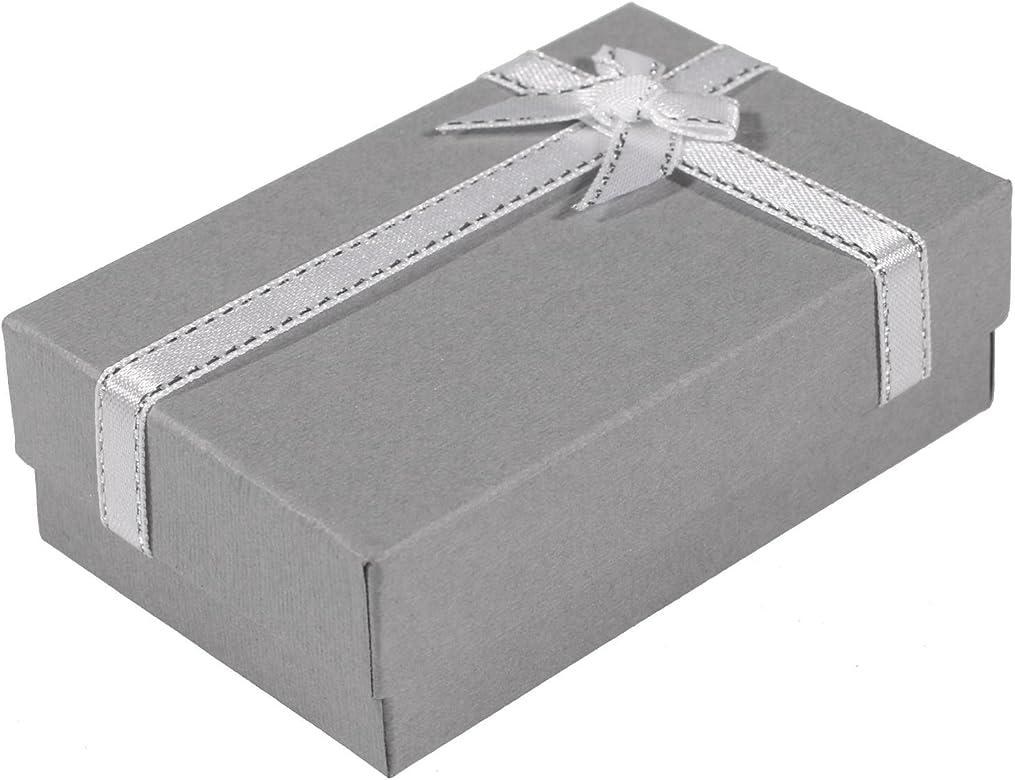 Estuche para joyas cartón interior de espuma-Gris-Lazo de satén, color plateado: Amazon.es: Joyería