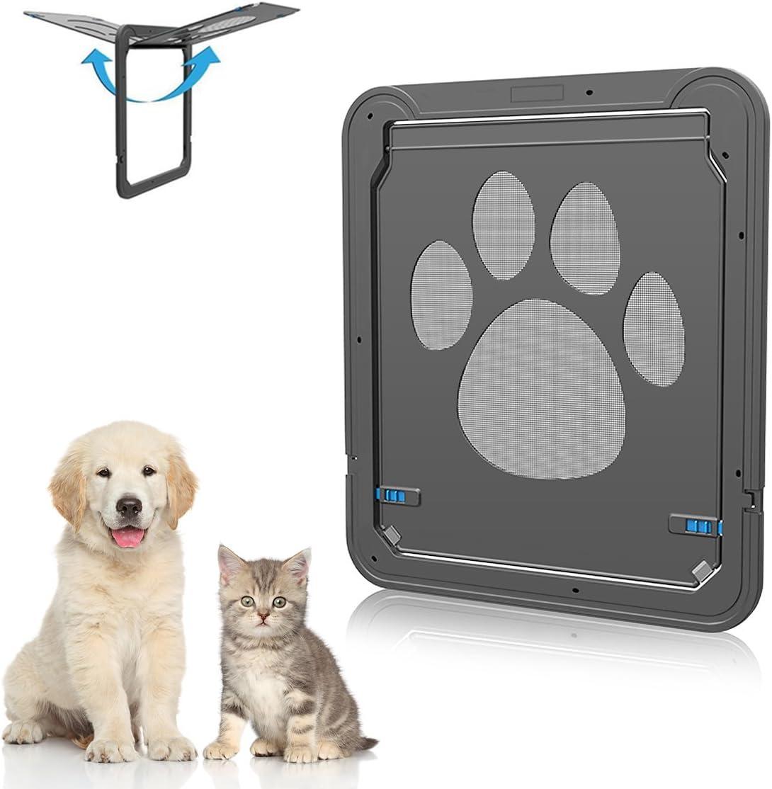 Dog Door Screen Door, NuoYo Pet Cat Door Automatic Lock Rotary Indoor Safety Nets Gates for Small Medium Large Dog Cat Esay to Install