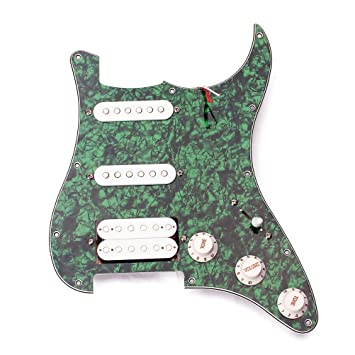 ROSENICE Guitarra Eléctrica recolector Pastillas 3 capas Precable SSH Guitarra Protector Tablero Pick Humbuckers (Verde