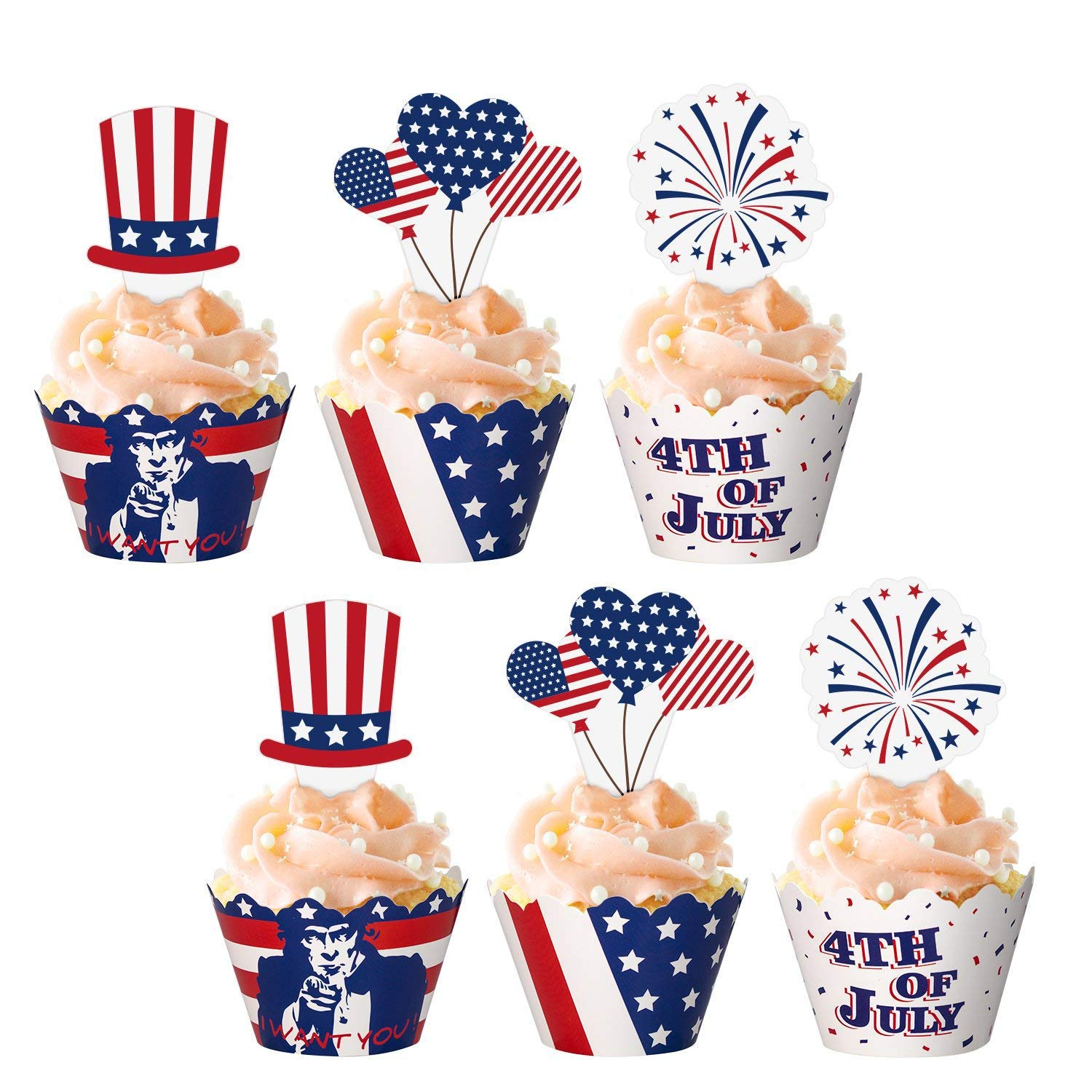 Amazon Jollylife 48Ct Fourth 4th Of July Cupcake Toppers Wrappers
