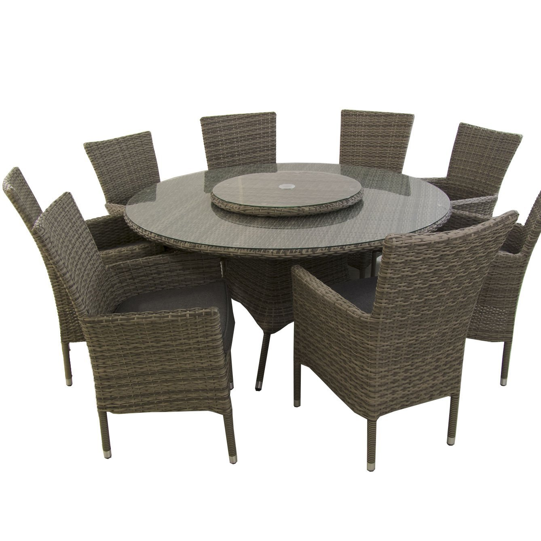 Conjunto Muebles jardín, Mesa Redonda 150 cm y 8 sillones apilables, Aluminio y rattán sintético Plano Color Gris, 8 plazas, Cristal Templado 5 mm