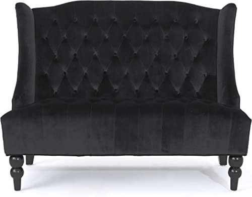 Christopher Knight Home Leora Modern Glam Tufted Velvet Wingback Loveseat