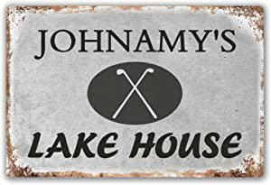 PanChuan Personalized Lake House Sign Vintage Distressed Look Custom Metal Sign Plaque Decor