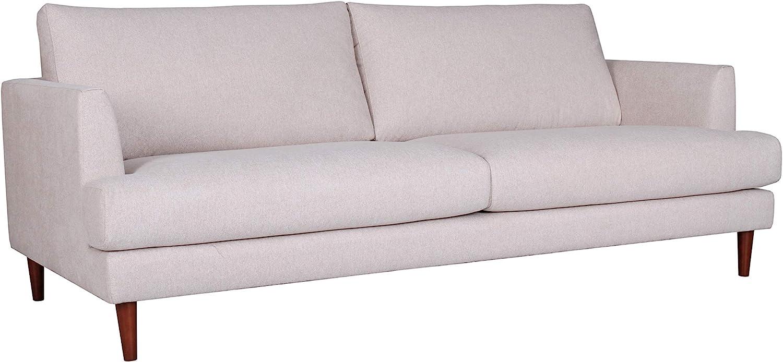 "Amazon Brand – Rivet Canton Deep Mid-Century Modern Sofa Couch, 88.6""W, White"