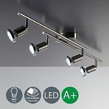Lámpara de techo LED I Foco giratorio I Incluye 4 bombillas de 3 W GU10 I ...