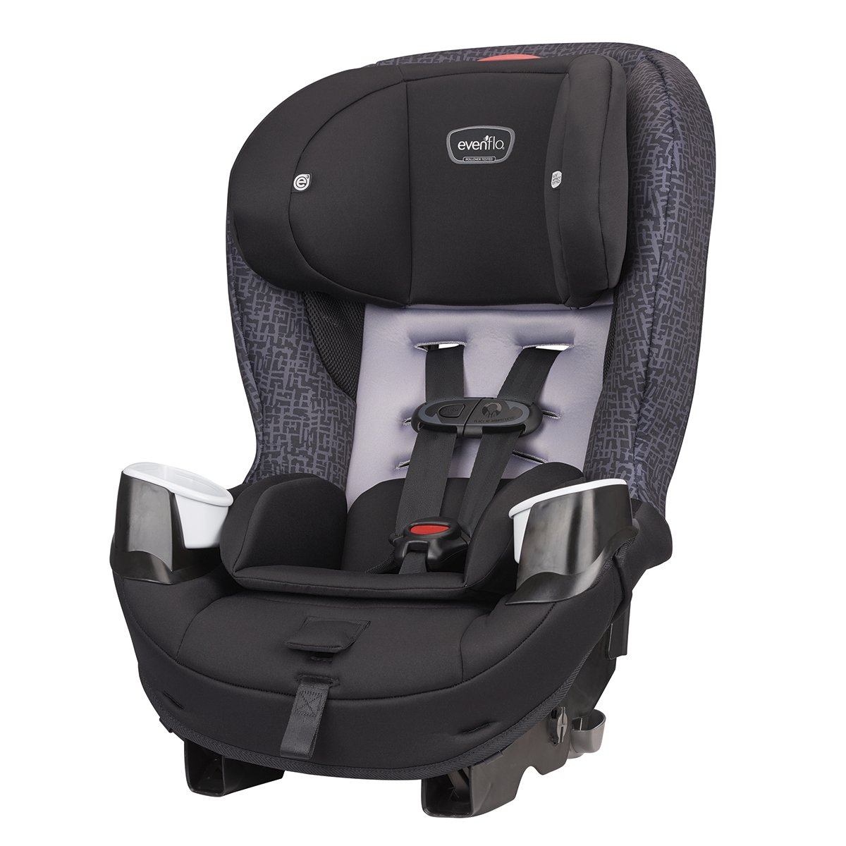 B01N5G21GT Evenflo Stratos 65 Convertible Car Seat, 2 Car Seats in 1, Forward / Rear Facing Car Seat, Air Flow Vents, Removable Body Pillow, Rollover-Tested, Quick-Connect LATCH Hooks, Boulder Gray 71S1gfScEjL