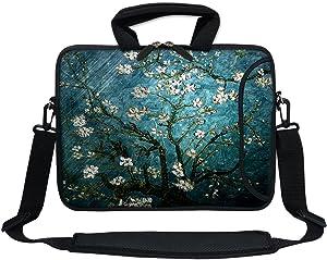 "Meffort Inc 11.6 Inch Neoprene Laptop Bag with Extra Side Pocket, Soft Carrying Handle & Removable Shoulder Strap for 10"" to 11.6"" Size Ultrabook Chromebook (Vincent Van Gogh Almond Blossoming)"