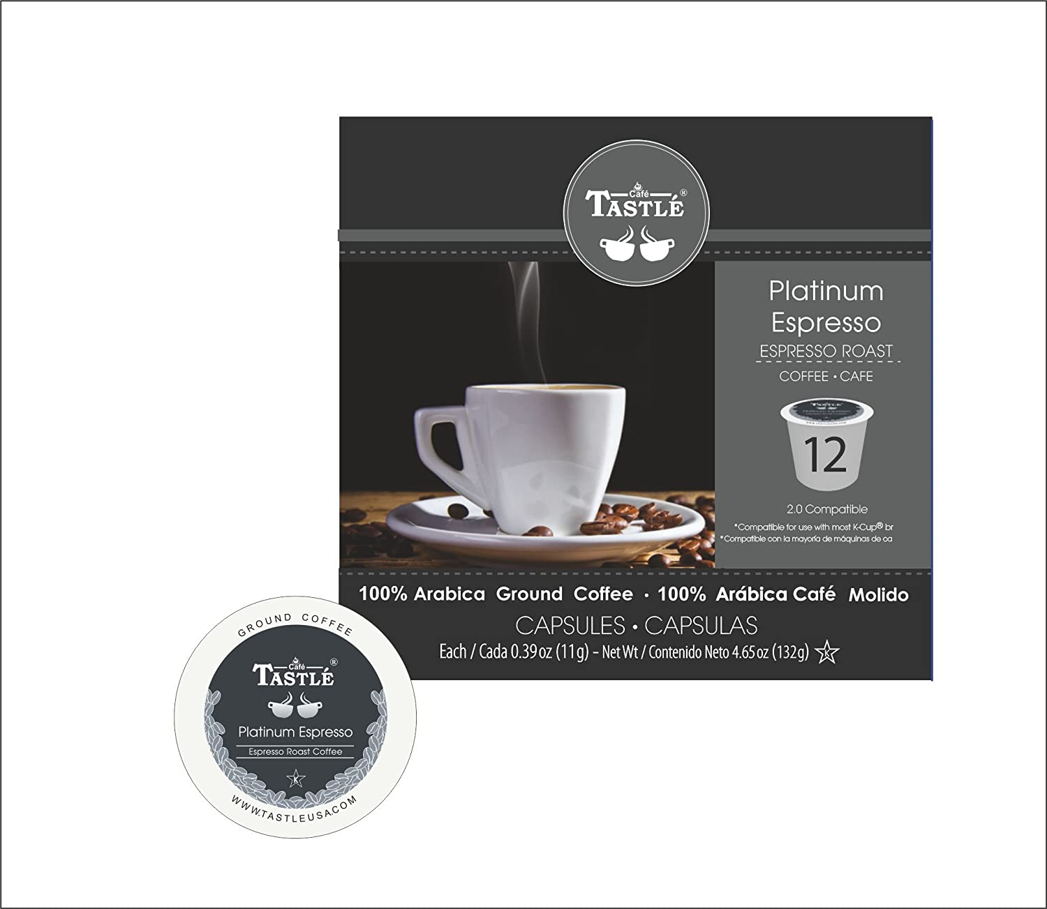 Cafe Tastlé Platinum Espresso Roast Single Serve Coffee, 12 Count: Amazon.com: Grocery & Gourmet Food
