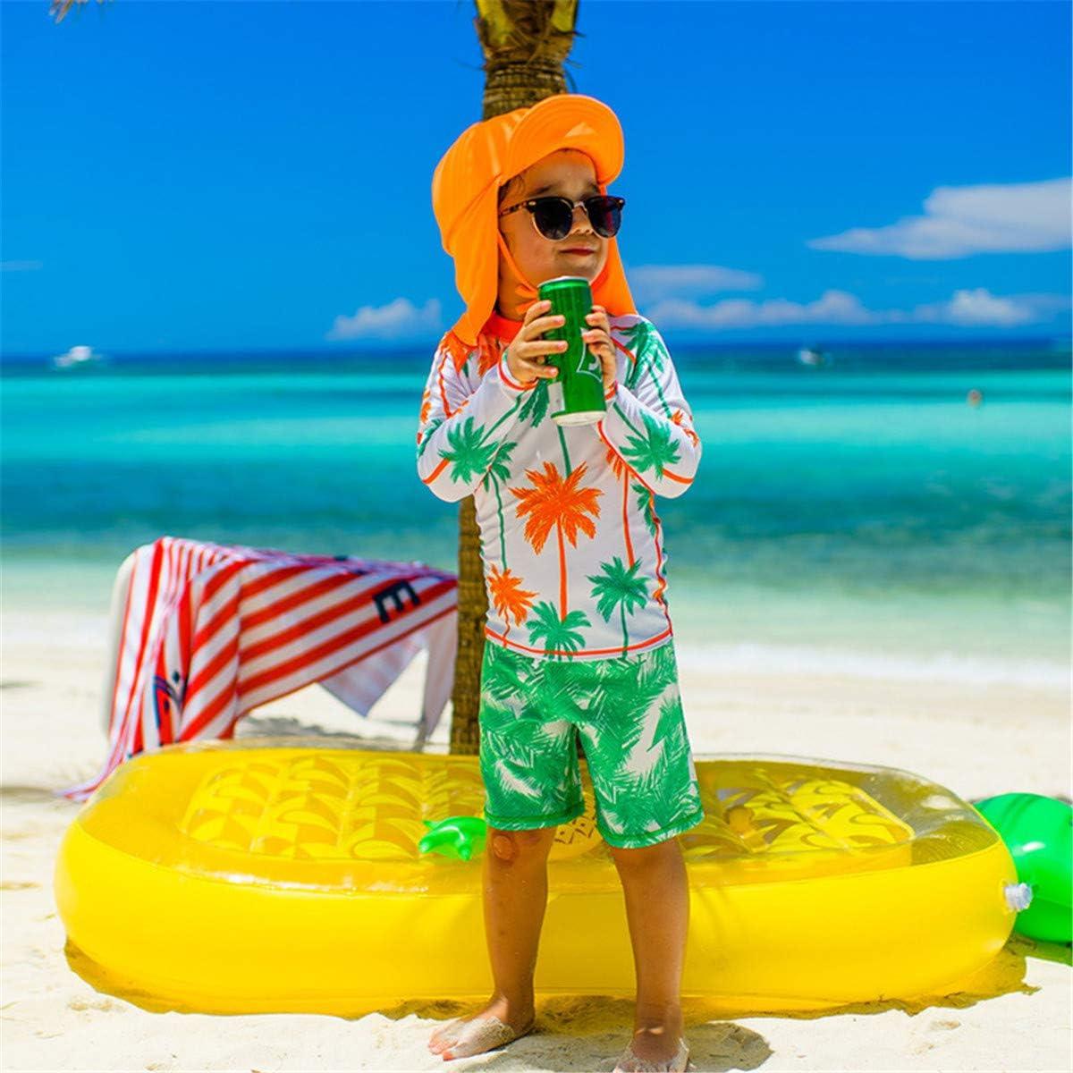 Kinder Jungen Kleinkinder Two Piece Uv-Schutz Schwimmanzug Kokosnussbaum Drucken Sunsuit Schwimmbekleidung Bade-Set Kurz Tops+Badehose mit Hut
