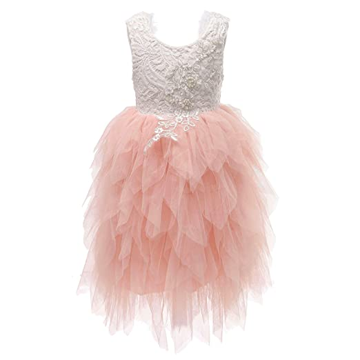 5e50b62c0d7c9 Flower Girl Beaded Peony Lace Tiered Tutu Tulle Party Dress Girls Maxi  Dresses