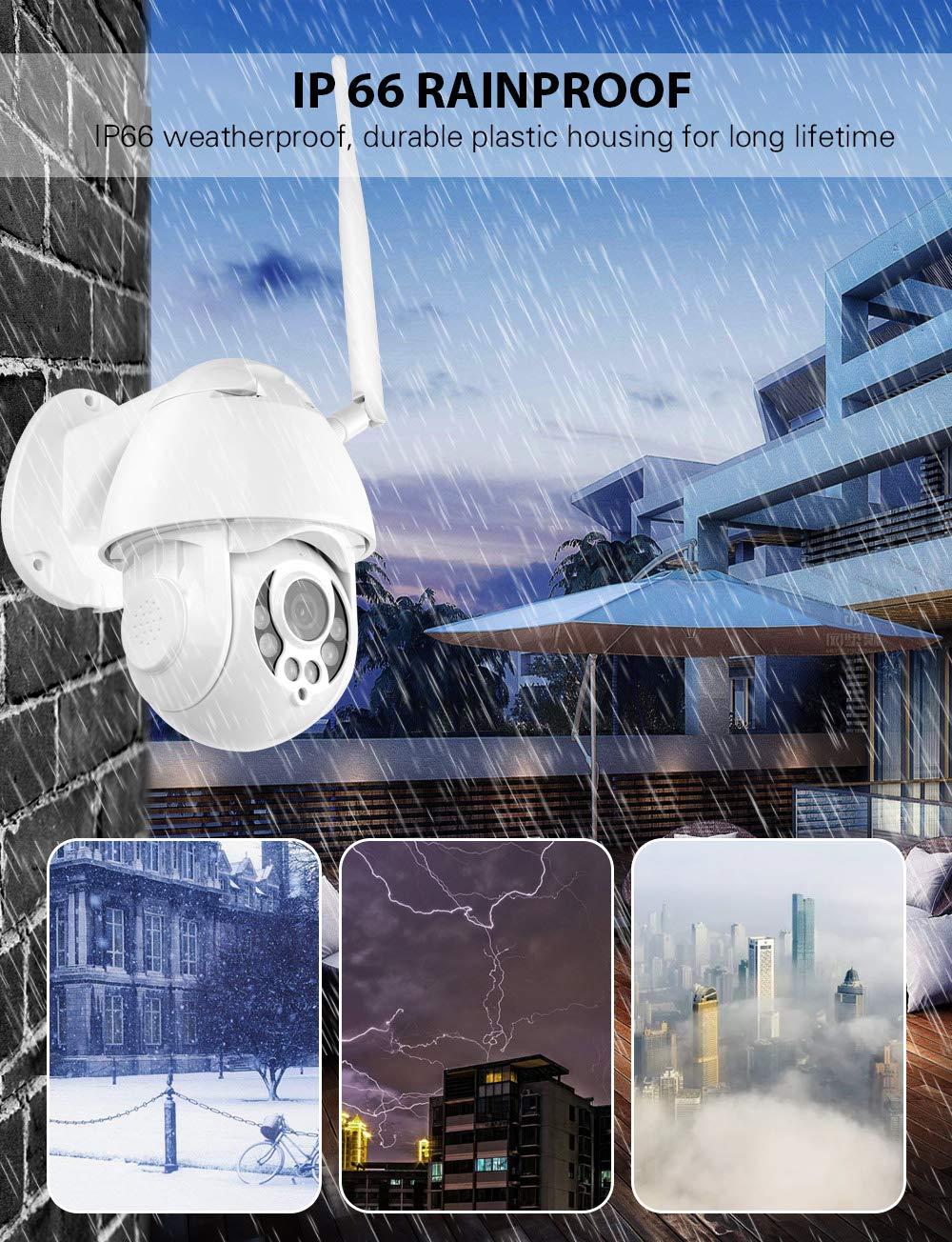 Soporte de tarjeta SD C/ámara IP Exterior C/ámara de Vigilancia wifi IP66 Impermeable Seguridad Inal/ámbrica C/ámara HD 1080P //Audio Bidireccional//Detecci/ón de Movimiento