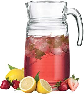 Decorative Glass Clear Pitcher With Handle & Pour Lip for Water, Iced Tea and Lemonade - Durable Ribbed Glass Water Pitcher, 64 oz