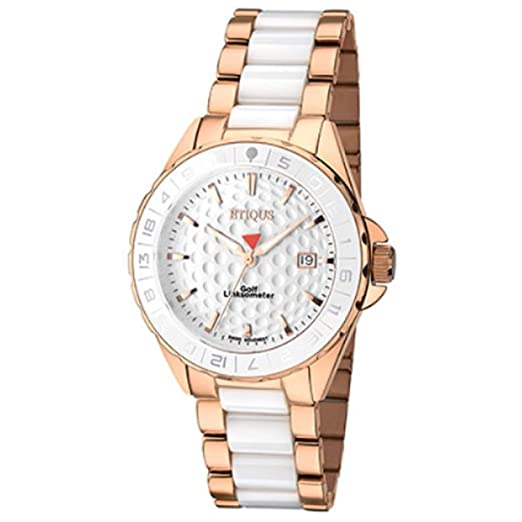 1f32af9788 Etiqus Ladies Rose Gold Plated Wrist Watch - Stainless Steel Strap Swiss  Quartz Analogue Timepiece with White Ceramic Centre Links: Amazon.co.uk:  Watches
