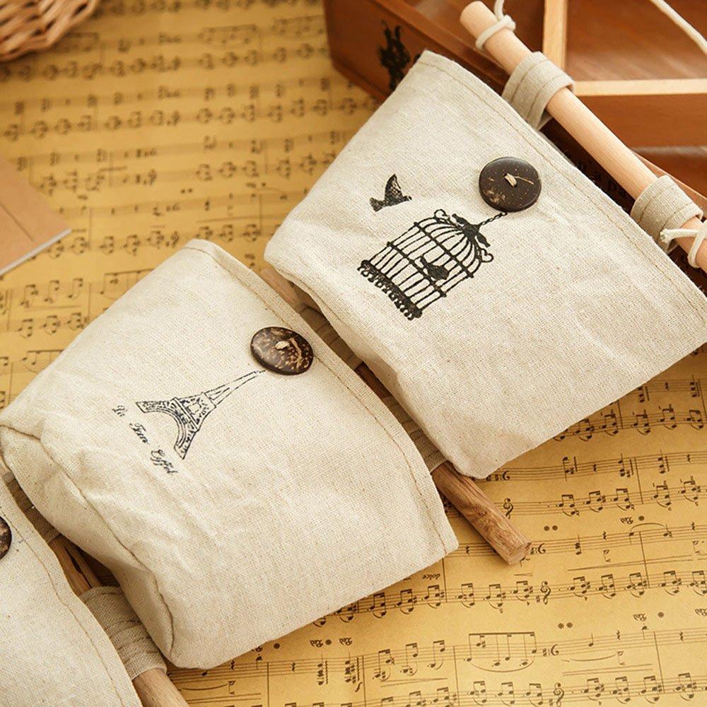 Organizador de pared con 6 bolsillos de tela de lino y algodón, estilo antiguo: Amazon.es: Hogar