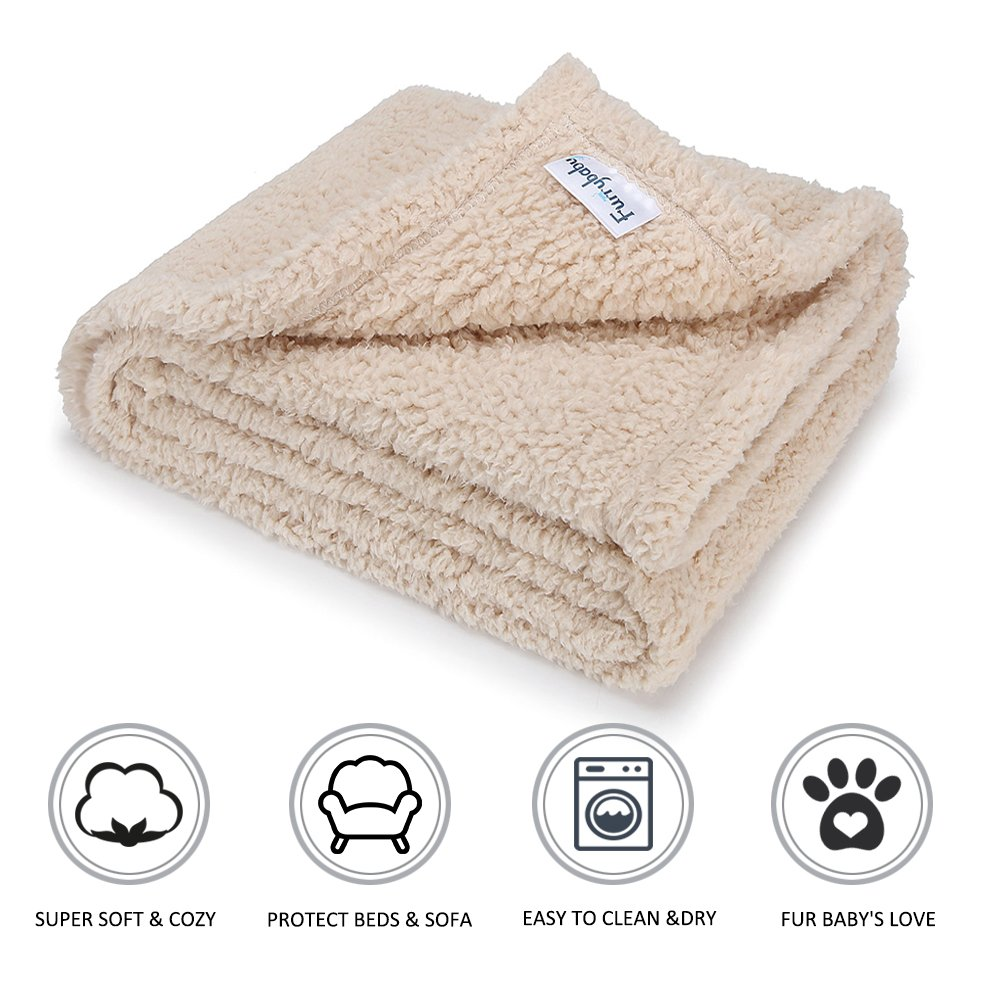furrybaby Premium Fluffy Fleece Dog Blanket, Soft and Warm Pet Throw for Dogs & Cats (Medium 30x40'', Beige)