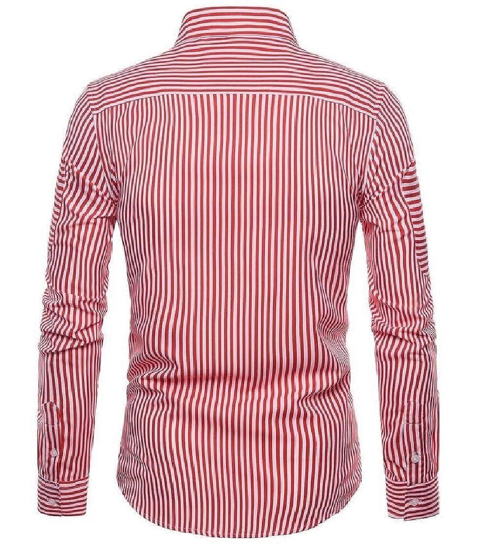 pipigo Mens Lapel Neck Striped Loose Curved Hem Long Sleeve Button Down Shirts