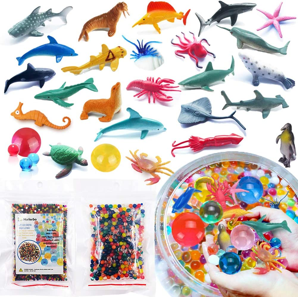 Auihiay 41 Pieces Ocean Sea Animals Set Sensory Toys Include Ocean Animals and Inflatable Water Mat for Children Education Family Time