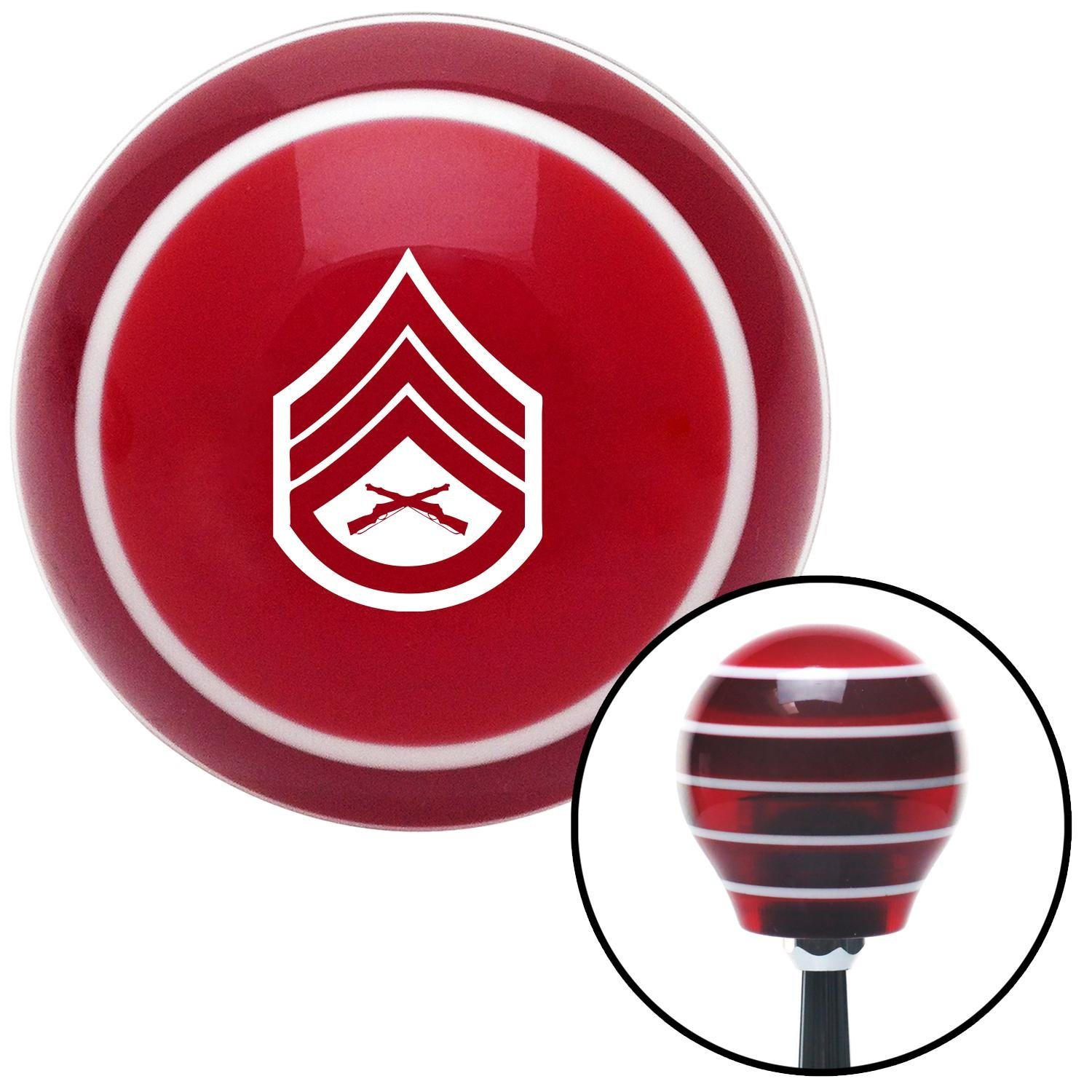 White 05 Staff Sergeant American Shifter 116020 Red Stripe Shift Knob with M16 x 1.5 Insert